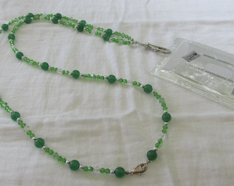 Green Badge or Business Card Lanyard with Holder (BH105)
