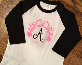 Girl's personalized dance 3/4 sleeve raglan shirt and headband, dance recital gift, dance gift, dancer, dance shirt.