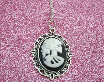 Lady Bones Cameo skeleton necklace, skull and bones necklace, handmade jewellery, festival jewellery, festival fashion