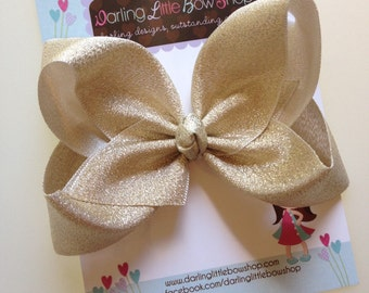 "Gold Bow -- Beautiful shimmering gold hairbow -- 4"" or 5"" bow - optional headband"