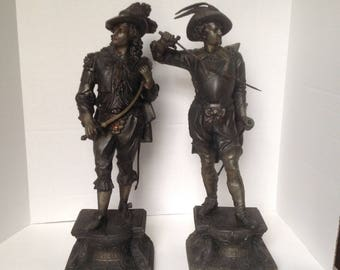 antique spelter statues/Don Juan/ Don Caesar/cavalier statue/Muller and Sons sculptures/spelter sculptures/metal art sculptures/gift for him