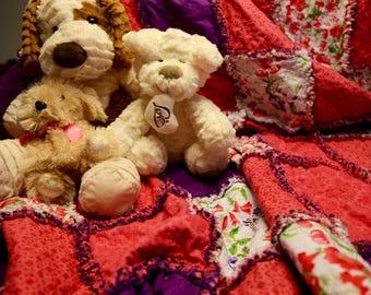 Springtime Rag Lap quilt, purple quilt, pink quilt, flowers quilt