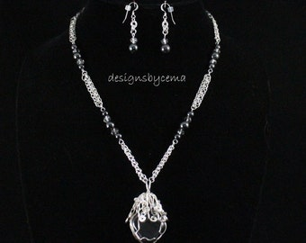 Necklace and earring set wit wire-wrap hematite focal with silver chainmaille