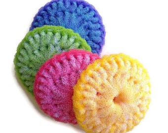"Pot Scrubbers,4 Large Pot Scrubbers,Dish Scrubber,4.5"" Kitchen Dish Scrubbies,Crochet Pot Scrubber,Nylon Pot Scrubber,Gift for Her"