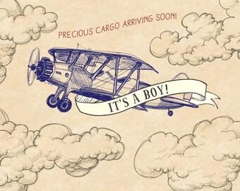 Digital File of Vintage Airplane Baby Shower Backdrop - Dessert Table  Banner - Airplane Background -