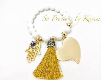 White agate with gold accent