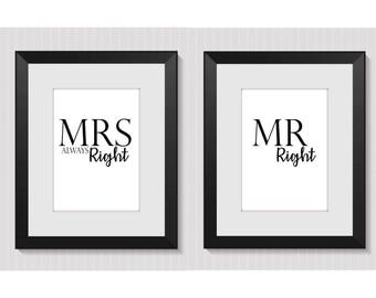 Mr and Mrs, Wedding, Prints, Prints Quotes, Typography Print, Wall Print, Art Print, Print Set, Home Decor, Wall Decor, Bedroom Decor, Gift