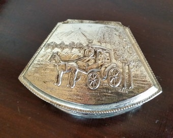 Small Silver Jewelry Box with Carriage Repoussé