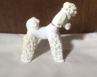 Vintage Bisque Poodle Dog Figurine