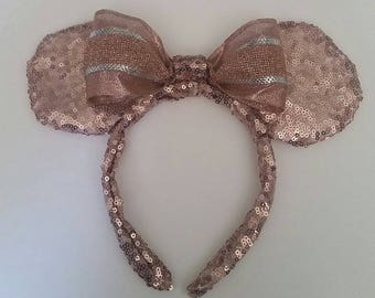Rose gold headband ears with bow