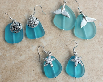Aqua frosted Sea glass Earrings, Choose antiqued sand dollars, starfish or Whales tales, Dangle earring gifts by Inarajewels