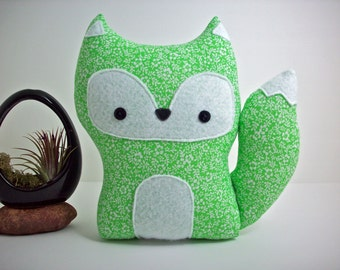 Fox pillow plush toy in green floral