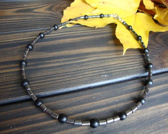 Simple beaded necklace for man Hematite mens necklace Gray black mens jewelry Gemstone necklace man Stone mens jewelry Beaded necklace men