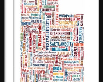 Utah State Map TypographyColor  Map Poster Print Text Map