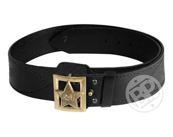 Russian army military leather belt - for General - Star of the Soviet Army with rays on the buckle