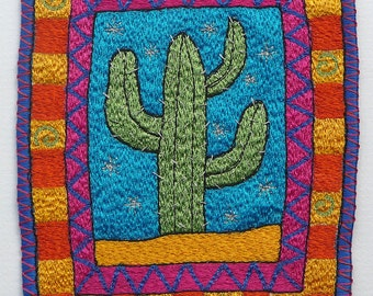 Cheerful Cactus picture, unframed textile art, free motion machine embroidery