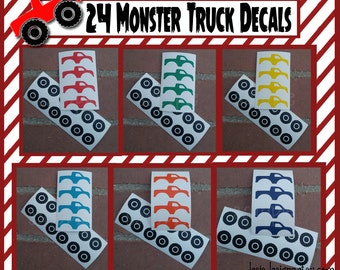 24 Monster Truck decals vinyl Monster truck party decorations monster truck birthday party cup stickers party cup stickers party favor cup