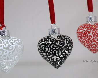 Swirly Glass Heart ornament, hand painted