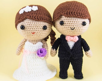 Amigurumi Wedding Dolls with Customizations  --  wedding crochet, custom wedding gift, bride and groom gift, for wedding decor, centerpiece