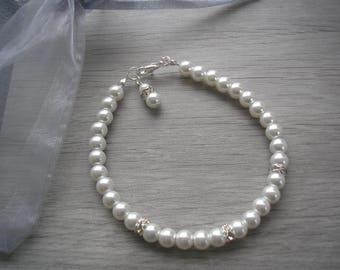 Bridesmaid Pearl Bracelet, Ladies Pearl Bracelet, Pearl Silver Diamante Bracelet, Wedding Jewelry, Bridal Bracelet, Girls jewelry, 2RDBSP
