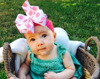 Hair Bows, Monogrammed Initial, Large Boutique, Custom Made, Letter Ribbon, Polka Dot Baby, Huge Pink Infant, Toddler Gift Idea, Easter Clip