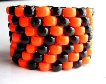Orange, Black Kandi Cuff, Neon Bracelet, Arrow Pattern, Edm Rave Accessories