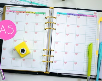 RAINBOW A5 Undated Month on 2 Pages Planner Printable Instant Download PDF