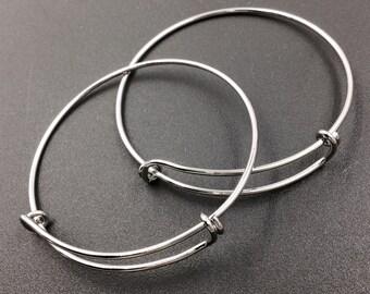 10 pcs Silver Tone Adjustable Wire Bangle Bracelet 2 Loops Wrap