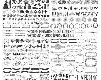 Wedding Design Elements, Banner, Arrow, Ornament, Frame Clipart Clip Art PNG SVG Eps Ai Instant Download