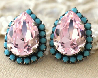 Turquoise Pink earrings, Cotton Candy earrings, Bridal earrings, Swarovski crystal light pink earrings, Pink Rose Rhinestone stud earrings.
