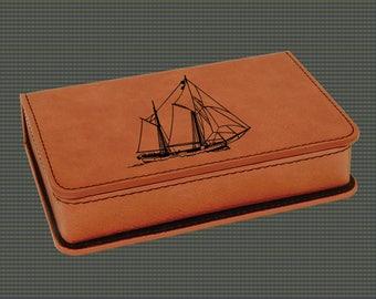 Leatherette Wine Tools Gift Set - Sailboat Designs