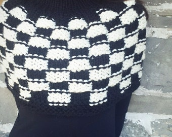 50% Off sale- Knit poncho Womens poncho, American made Mod black and white checkerboard, cropped sweater and poncho