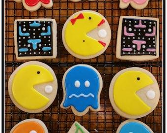 Pac Man Theme Homemade Cut Out Sugar Cookies - 1 Dozen