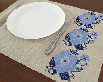 Embroidered placemat, Linen placemats, natural linen placemats, natural placemat