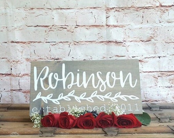 Last name wood sign, Family name sign wood, Personalized wood sign, Wooden established signs, Rustic wood sign for home