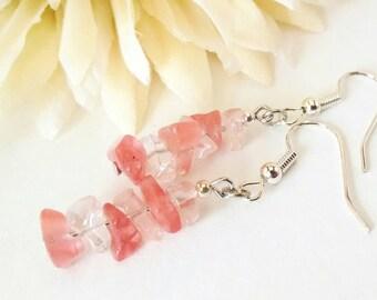 Cherry Quartz Earrings, Pink Quartz Earrings, Light Pink Stone Earrings, Raw Quartz Earrings, Cherry Quartz Jewelry, Birthday Gift for Her