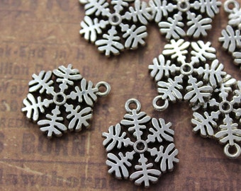 10 Snowflake Charms Snowflake Pendants Antiqued Silver Tone Double Sided 18 x 20 mm