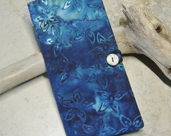 Credit Card Wallet, Loyalty Card Wallet, Business Card Case, Indigo Blue Batik Fabric Card Case, Gift Idea, Boho, Card Organizer, Tropical