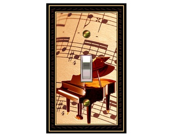 1660A - Piano on Sepia Sheet Music - mrs butler switch plate covers -
