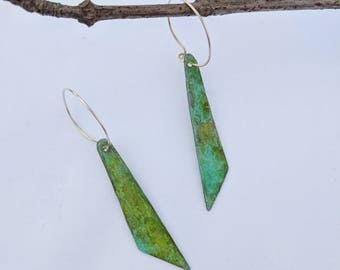 Green Patina Copper and Sterling Silver Geometric Earrings