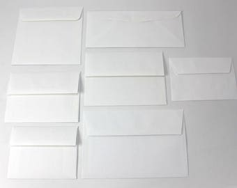 White Uncoated Envelopes - A2, A4, A6, A7, A9, 6.5 square sizes