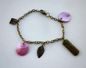 Pink and Bronze Toned Dream Charm Bracelet Brass Toned Charm Bracelet