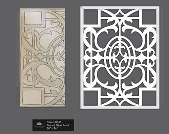Stained Glass Scrollwork Fretwork Art for decoration in Shabby Chic Distressed White  0546