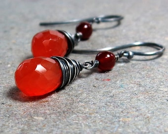 Carnelian Earrings Orange Gemstones Oxidized Sterling Silver Earrings Gift for Her