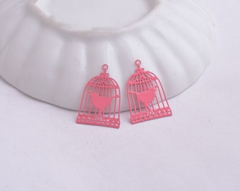 2 prints / bird cage charms pink 23 x 15 mm