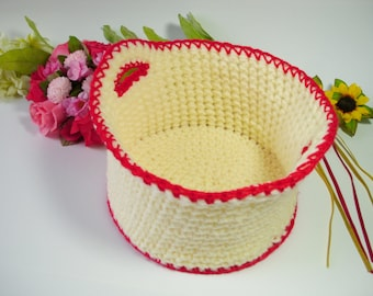 Storage basket crochet basket home decor crochet bin storage bin storage solution crochet yarn bowl bathroom storage crochet storage caddy