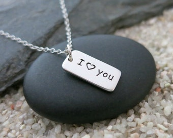 I Heart You Necklace, Sterling Silver I Heart You Charm, Love Jewelry