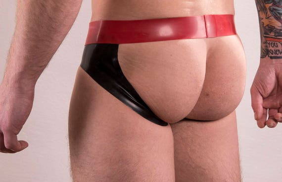 Rubber Jockstrap, briefs style front, with contrast colour stripes on sides of front pouch. Medium weight 0.5mm thickness latex