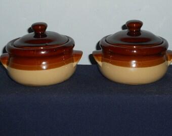 French Onion Soup Crocks w/Handles & Lids-Glazed-3 Toned-Set of 2