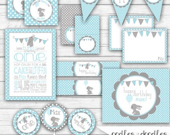 Some Bunny is One Birthday, Boy's First Birthday, Blue and Gray, Spring Birthday, Easter Birthday, 1st Birthday - Printable Party Package